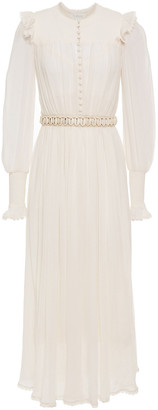 Zimmermann Belted Cotton And Silk-blend Crepon Midi Dress