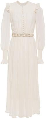 Zimmermann Ruffle-trimmed Cotton And Silk-blend Crepon Midi Dress