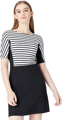 Find. Women's Dress in Colour Block Striped Ponte Jersey with Flared Skirt