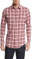 Tom Ford Large Plaid Tailored-Fit Sport Shirt, Red/White