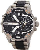 Diesel Men&s Mr. Daddy Leather & Stainless Steel Bracelet Watch