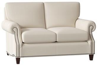 Bradington Young Rodney Leather Loveseat Bradington-Young Body Fabric: Milestone White, Leg Color: Mahogany, Cushion Fill: Premier Down