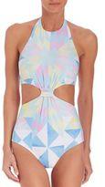 Mara Hoffman One-Piece Fractals Knot-Front Swimsuit
