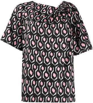 Christian Wijnants geometric print gathered detail T-shirt