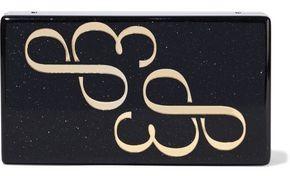 Edie Parker Jean Logo Glittered Acrylic Box Clutch