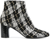Casadei tweed Daytime ankle boots - women - Calf Leather/Leather/Nappa Leather/Polyester - 37