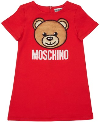 Moschino Cotton Sweat Dress W/ Sequin Patch