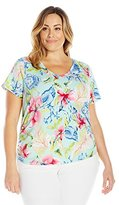 Caribbean Joe Women's Plus-Size Printed Short Sleeve V Neck Ruched Tee Shirt