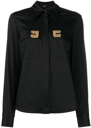 Elisabetta Franchi Gold Fringe Long-Sleeve Shirt