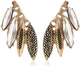 Sam Edelman Crystal and Gold Navette Cluster Stud Earrings