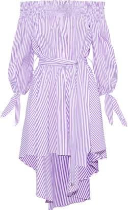 Caroline Constas Lou Off-the-shoulder Striped Cotton-poplin Mini Dress