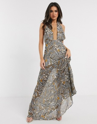 Girl In Mind cross front halterneck maxi dress in yellow print