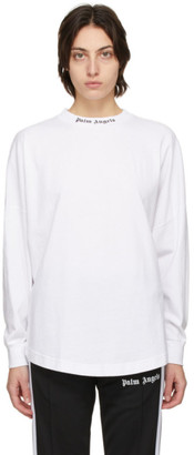 Palm Angels White Classic Logo Long Sleeve T-Shirt