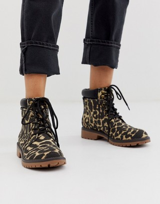 Call it SPRING by ALDO Sonney lace up chunky ankle boots in animal print-Multi