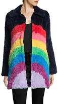 Manoush Rainbow Rabbit Fur Coat