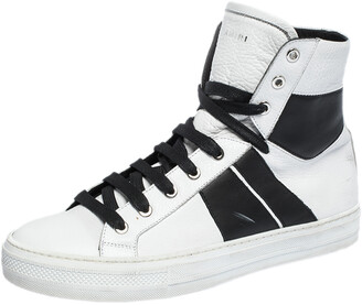 Amiri Black/White Leather Sunset Lace High Top Sneakers Size 42