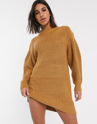 Asos Design DESIGN knitted rib mini dress with chunky crew neck-Stone