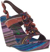 Blowfish Timo Wedge Sandal Brown Multi Fabric