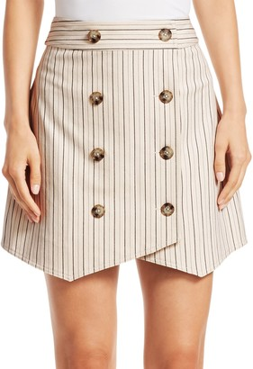 Derek Lam Striped Double-Breasted Mini Skirt