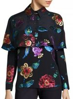 Burberry Metallic Floral & Silk Cape Blouse