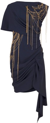 Oscar de la Renta Chain Embellished Draped Mini Dress