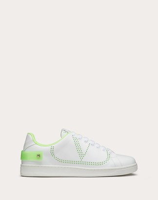 Valentino Garavani Uomo Backnet Calfskin Sneaker Man White/neon Green 100% Pelle Di Vitello - Bos Taurus 42