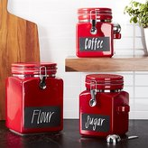 Crate & Barrel Red Clamp Canisters With Chalkboard