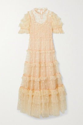 DÔEN Orelia Tiered Embroidered Tulle Maxi Dress - Peach