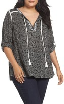 Daniel Rainn Plus Size Women's Floral Print Peasant Top