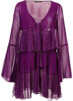 Roberto Cavalli tiered lace up dress