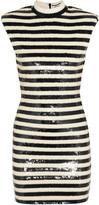 Saint Laurent Striped Sequined Satin Mini Dress