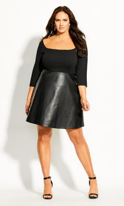 City Chic Sliding Door Dress - black
