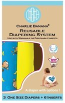 Charlie Banana 2-in-1 Reusable Diapering System, 3 Diapers plus 6 Inserts, Monkey Doo, One-Size by