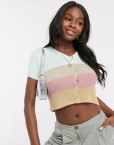Daisy Street shrunken cardigan in retro stripe knit
