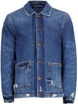 Topman Blue Faux Shearling Lined Denim Chore Jacket