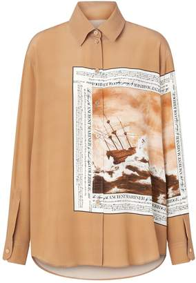 Burberry Mariner Print Oversized Silk Shirt
