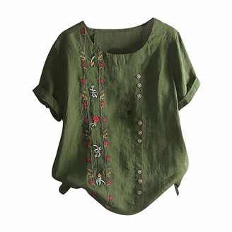 Beetlenew Womens Blouses Womens Tops Boho Printed Embroidered Short Sleeve Round Neck Buttons Loose Side Split T-Shirt Blouse Summer Casual Beach Pullover Tees Shirts Holiday Clothes (XXXL