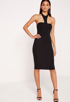 Missguided Jersey Halter Neck Bodycon Midi Dress Black