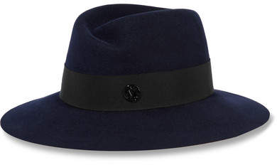 Maison Michel Virginie Rabbit-felt Fedora - Navy