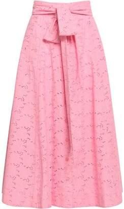 Lisa Marie Fernandez Belted Broderie Anglaise Cotton Midi Skirt