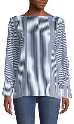 Avantlook Striped Bishop-Sleeve Top