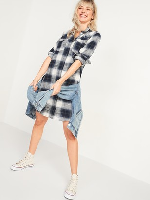 Old Navy Plaid Flannel Western Shirt Dress for Women
