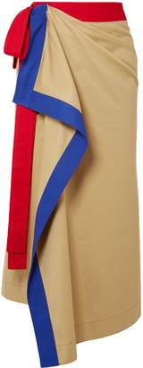 Rosie Assoulin Draped Color-block Cotton-twill Midi Wrap Skirt