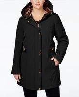 Via Spiga Plus Size Water-Repellent Hooded Raincoat