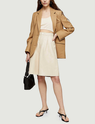 Topshop Wide-leg high-rise leather shorts