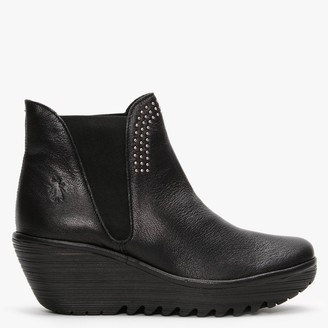 Fly London Yoss Studs Black Leather Wedge Ankle Boots