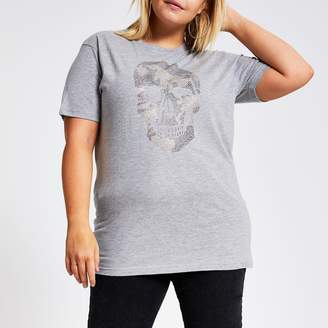 River Island Womens Plus Grey embellished camo skull T-shirt