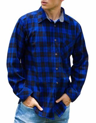 Janmid Men's Button Down Regular Fit Long Sleeve Plaid Flannel Casual Shirts Blue Black Plaid S