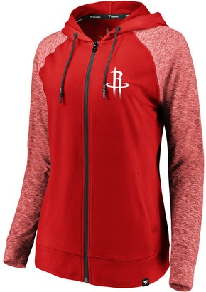 Möve Women's Fanatics Branded Red/Heathered Red Houston Rockets Made to Static Raglan Performance Full-Zip Hoodie