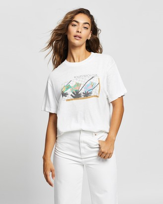 ROLLA'S Women's White Printed T-Shirts - Tomboy Beach Club Tee - Size M at The Iconic